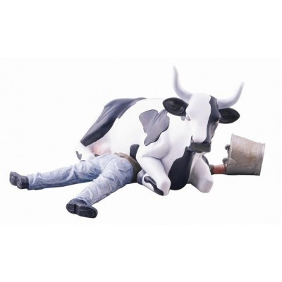 VACHE COW SITTING ON MAN MEDIUM