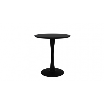 TABLE RONDE TORSION EN CHENE TEINTE NOIR D.70X H.76