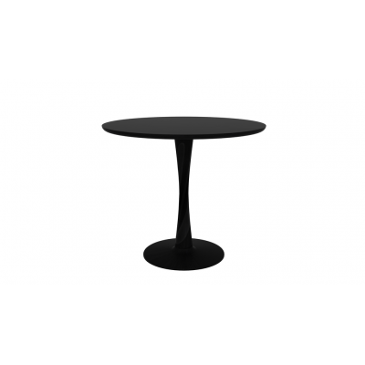 TABLE RONDE TORSION EN CHENE TEINTE NOIR D.90X H.76