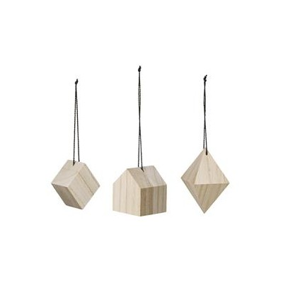 SUSPENTES BOIS SAPIN SHAPES SET DE 3