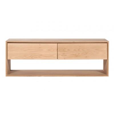 Oak Nordic TV cupboard - 1 flip-down door - 1 drawer