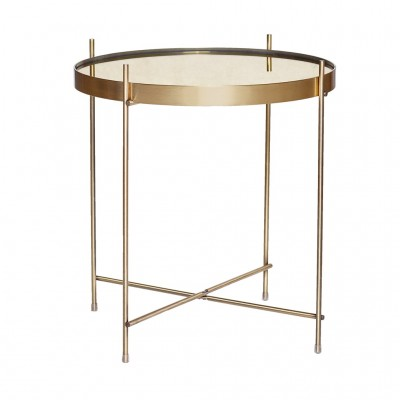 Table, round, gold, metal/mirror
