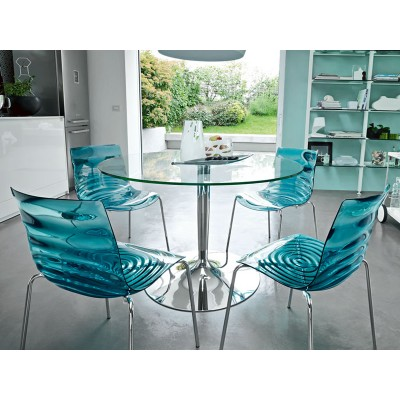 PLANET TABLE RONDE DIAM 120 VERRE TRANSPARENT + PIED CHROME