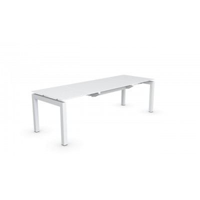 AIRPORT TABLE 130/195/260X90 PIED BLANC + TOP VERRE...