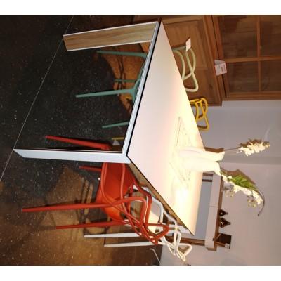 TABLE OXFORD 95X180CM PB3 CHENE + FENIX BLANC