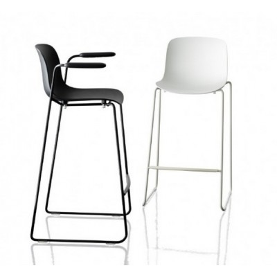 TABOURET TROY BLANC + CHROME