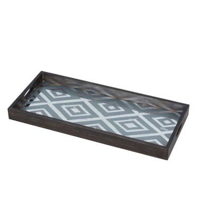 DIAMOND TRAY 69X31X5CM MIRROR LIGHT AGED