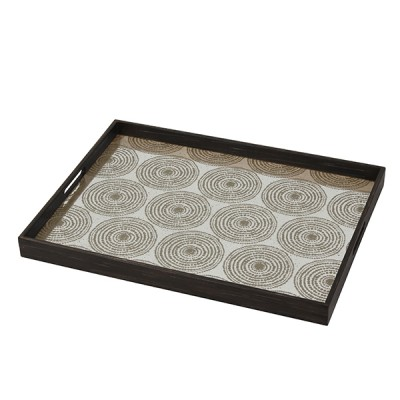 GOLD MULTI BEADS - MIST AGED MIRROR TRAY - 61X46X5CM