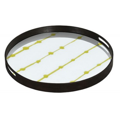 GOLD DOTS - GLASS TRAY  D.48cm