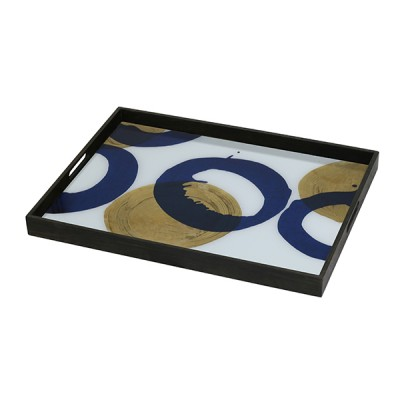 GOLD - BLUE HALOS - GLASS TRAY 61X46X5CM