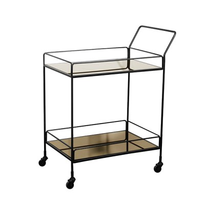 DIXON BAR CART 2 BRONZE MIRROR SHELVES 46X75X93 CM