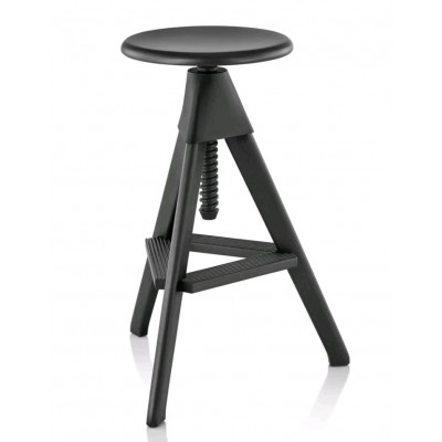 TABOURET TOM FULL BLACK H70-86cm