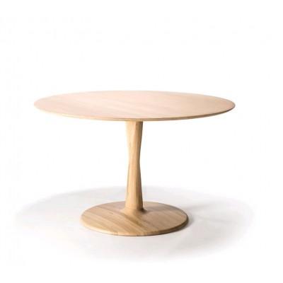 TABLE RONDE TORSION EN CHENE - D.127X H.76
