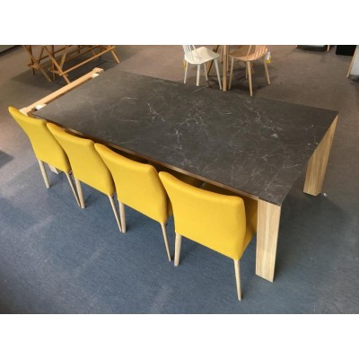 TABLE OXFORD 95X220/320CM PB1 CHENE E11 + CERAMIQUE K36