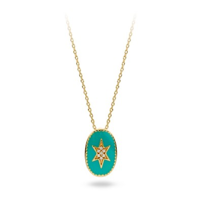 MYA BAY COLLIER ETOILE DU NORD EMAILLEE TURQUOISE
