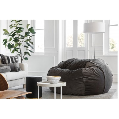Pouf Large Velvet dark grey