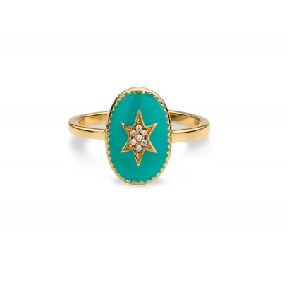 MYA BAY BAGUE ETOILE DU NORD EMAILLEE TURQUOISE - OR