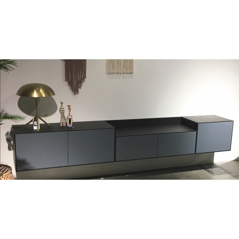 meuble tv lauki 240 x 37 cm bleu noir. Black Bedroom Furniture Sets. Home Design Ideas