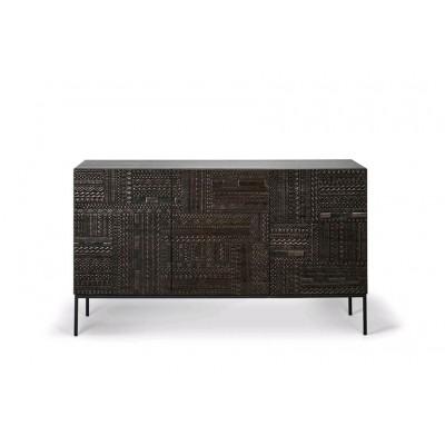 Teak Tabwa black sideboard - 3 doors - varnished