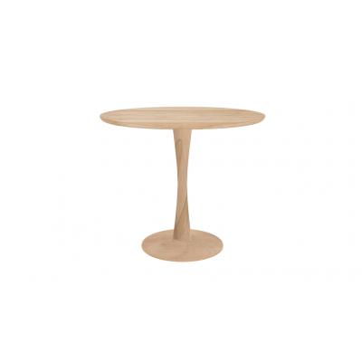TABLE RONDE TORSION EN CHENE - D.90X H.76