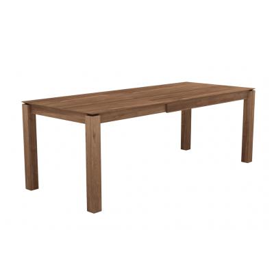 Teak Slice extendable dining table - legs 8 x 8 cm