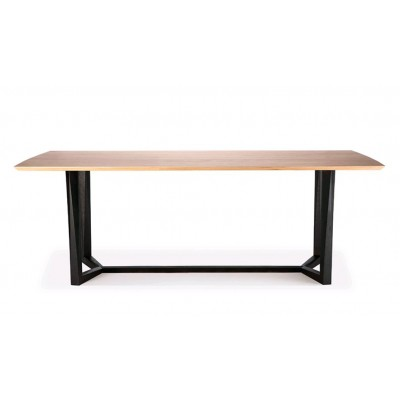 CHENE TABLE FACETTE - PIEDS NOIRS