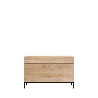 Oak Ligna sideboard - 2 doors - 2 drawers - black metal legs