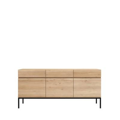Oak Ligna sideboard - 3 doors - 3 drawers - black metal legs