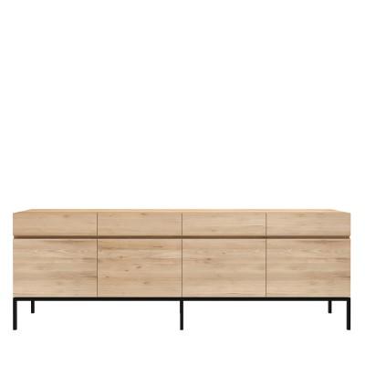Oak Ligna sideboard - 4 doors - 4 drawers - black metal legs