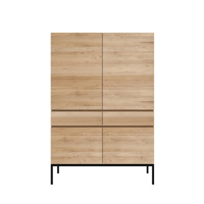 Oak Ligna storage cupboard - 4 doors - 2 drawers - black...