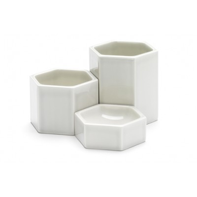 HEXAGONAL CONTAINERS GRIS CLAIR SET DE 3