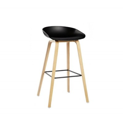 AAS32 ABOUT A STOOL TABOURET H65 NOIR + CHENE
