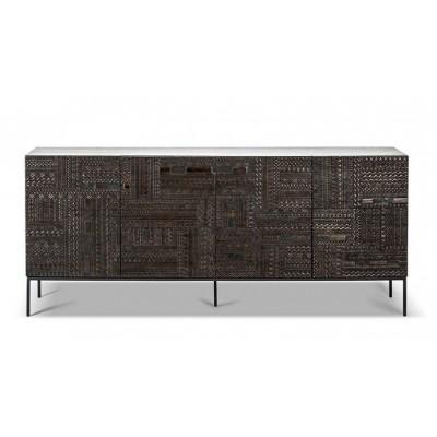 Teak Tabwa black sideboard - 4 doors - varnished