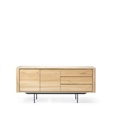 Oak Shadow sideboard - 2 doors - 3 drawers - black metal...