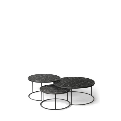 Teak Tabwa black round nesting coffee table - set of 3 -...