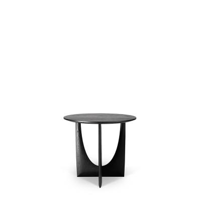 Oak Geometric black side table - varnished