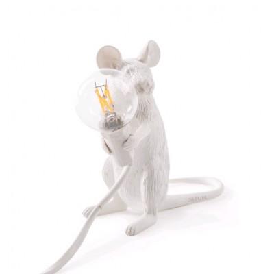 LAMPE SOURIS EN RESINE POSITION ASSISE