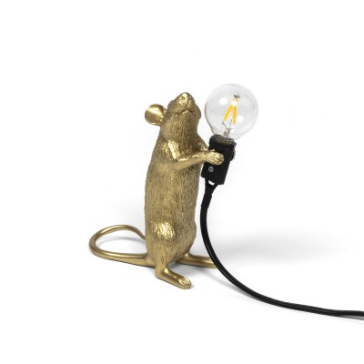LAMPE SOURIS OR EN RESINE POSITION DEBOUT