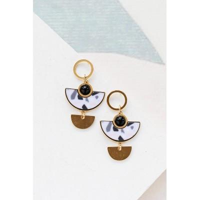 BOUCLES D'OREILLES MUSE OR TERRAZO BLANC