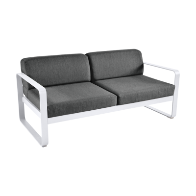 BELLEVIE CANAPE 2 PLACES BLANC COTON / GRIS GRAPHITE
