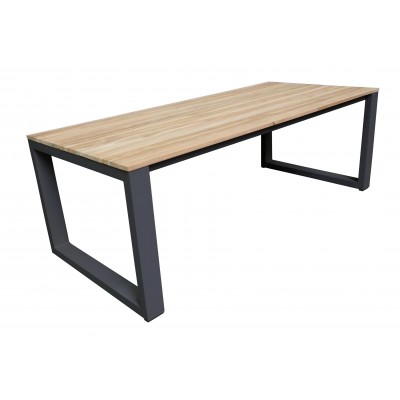 UGO TABLE ALU CHARCOAL + TECK 220X100 CM