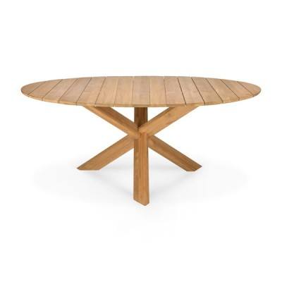 TABLE CIRCLE D'EXTERIEUR EN TECK 163X163X76CM