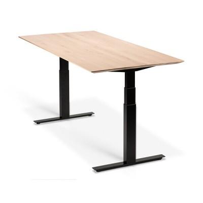 Oak Bok adjustable desk - black frame - EU