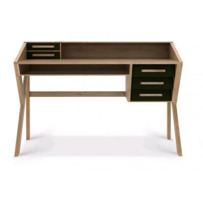 Oak Origami desk - 5 drawers - black