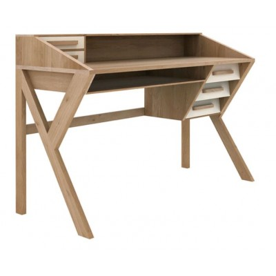 Oak Origami desk - 5 drawers - cream