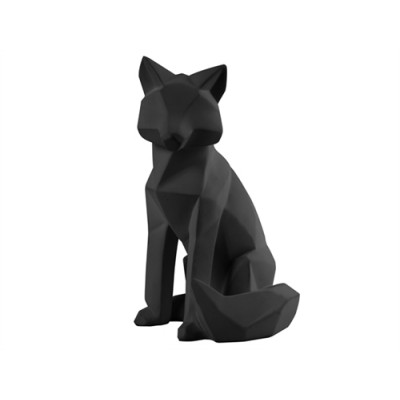 STATUE ORIGAMI FOX POLYRESINE BLACK LARGE