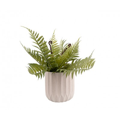 Pot à plantes Stripes ciment blanc ivoire medium