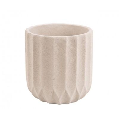 Pot à plantes Stripes ciment blanc ivoire large