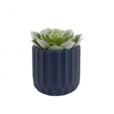 Pot à plantes Stripes ciment bleu large