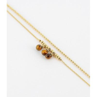 BRACELET - DORE marron-gold brown - oeil de tigre